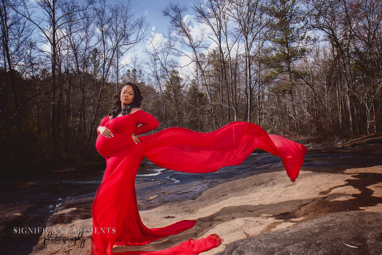 photographer maternity atlanta red dress